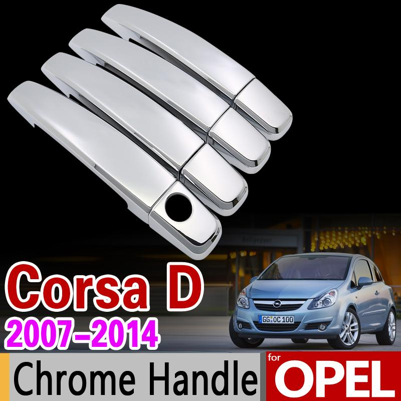 Wholesale For Opel Corsa D 2007 2014 Chrome Handle Cover Trim Set Vauxhall 2008 2009 2010 2012 2013 Car Accessories Stickers Car Styling