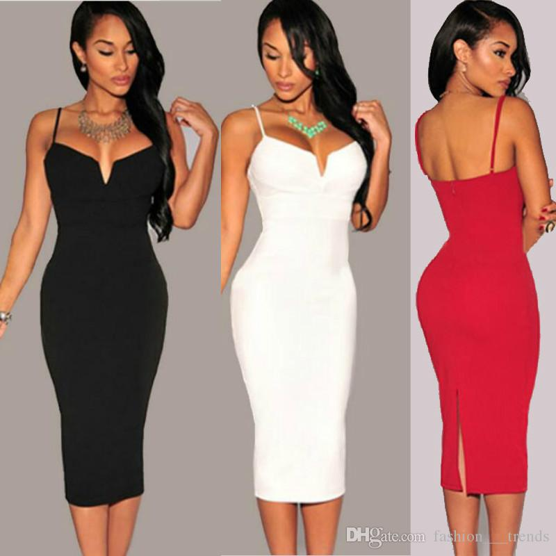 53d98113576 Sexy V Neck Spaghetti Strap Lace Bodycon Party Pencil Dress Women Summer  Knee Length Dresses For Women Female Vestidos Feminino Dew Shoulder  Designer ...