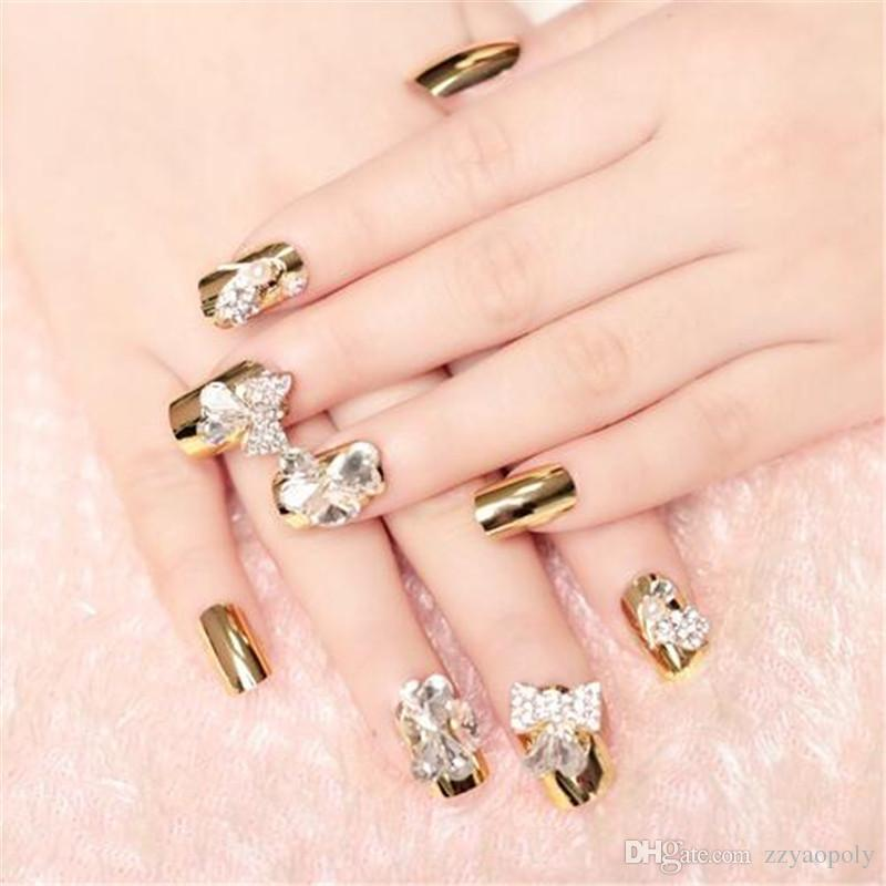 Fashion 3d Long Nail Art Tips Gold Glitter Decor Flat Bride Acrylic ...