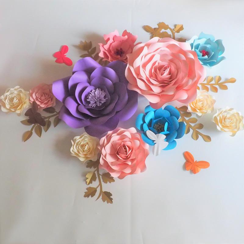 2018 diy half made giant paper flowers leaves butterflies wedding 2018 diy half made giant paper flowers leaves butterflies wedding event backdrop baby nursery with video tutorials diy paper flower backdrop diy mightylinksfo
