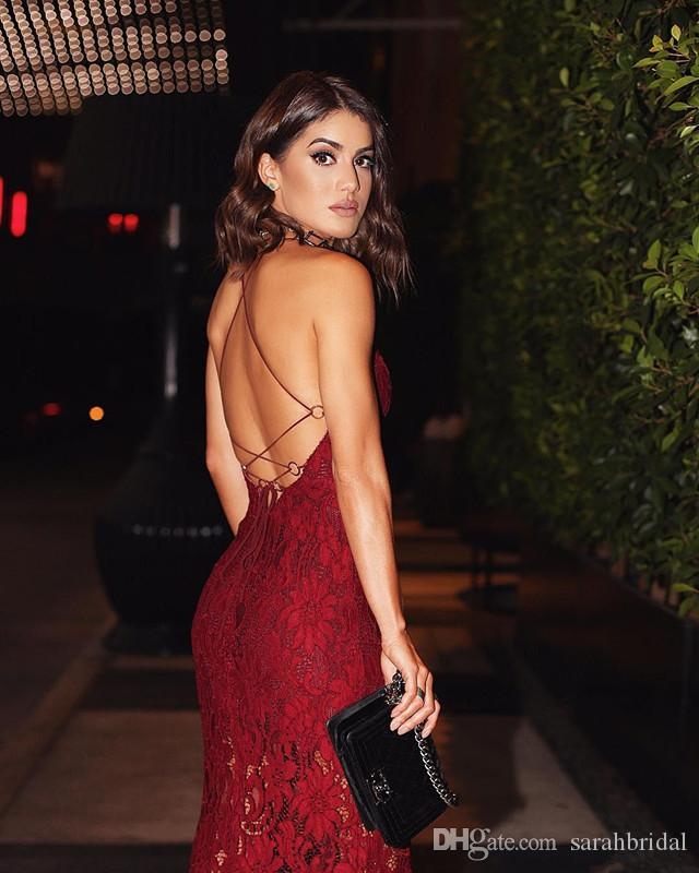 Burgundy Sexy Lace Prom Dresses With Spaghetti Straps Sexy back Criss Cross Straps Mermaid Dresses party Evening Wear Side Split Party Dres