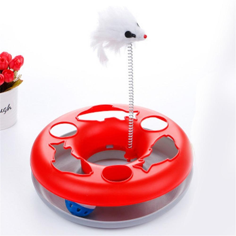 4 Colos Cat training toys Single - layer Amusement Plate Mouse Spring Cat Toys Cat Turntable Pet Interactive Toys Supplies