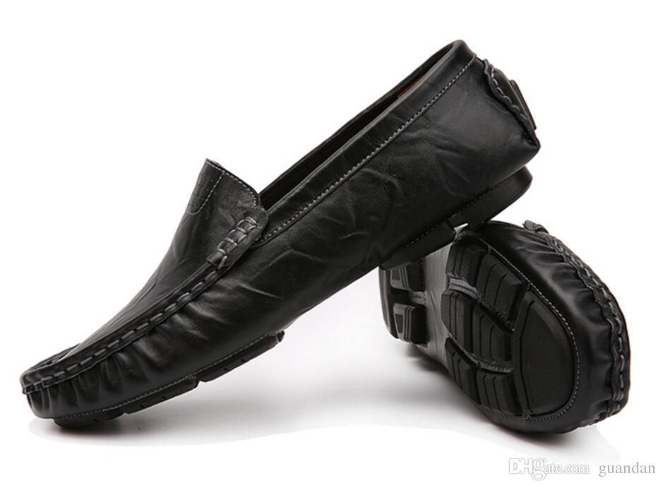 Plus Size 37 48 Slip On Genuine Leather Handmade Mens Loafers Men