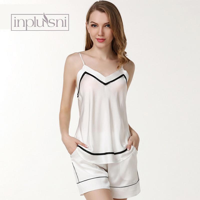 6fa5d9c94 Compre Mulheres Pijamas Atacado 19 Mimi Sexy 100% Seda Pijamas Mulheres  Suspensórios Shorts Duas Peças Set Home Wear Moda Camisolas De Clothesg009