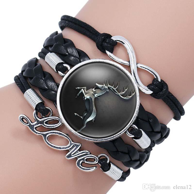 wolf head Game of Thrones A Song of Ice and Fire Logo Leather Bracelet infinity love Boys Glass Cabochon Bracelet movie jewelry 320047