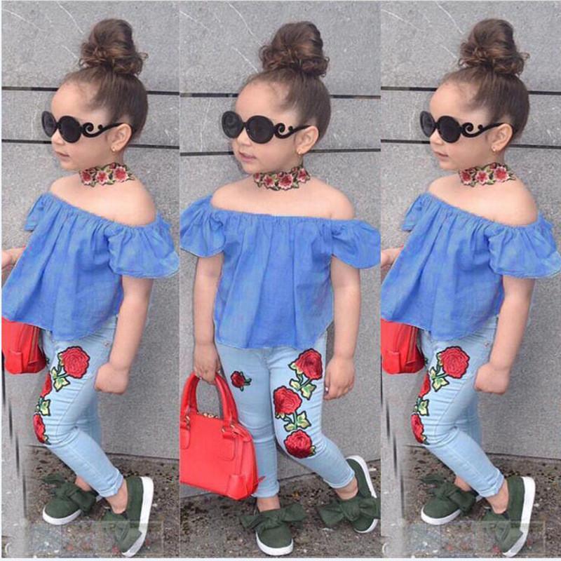 cfc2150ea5 2PCS Set Cute Baby Girls 2018 New Fashion Children Girls Clothes Off  Shoulder Crop Tops Blue+ Flower Denim Pant Summer Children Girl Clothes