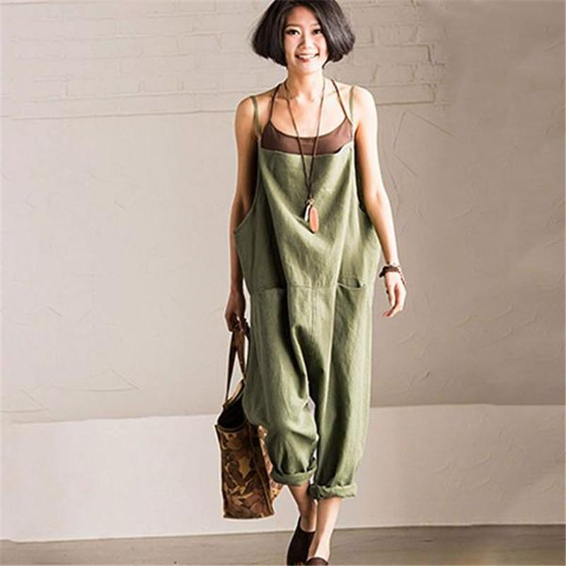 BUYKUD 2018 Summer Women Jumpsuits & Rompers Green Strap Jumpsuit Comfortable Plus Size Loose Casual Trouser With Pockets