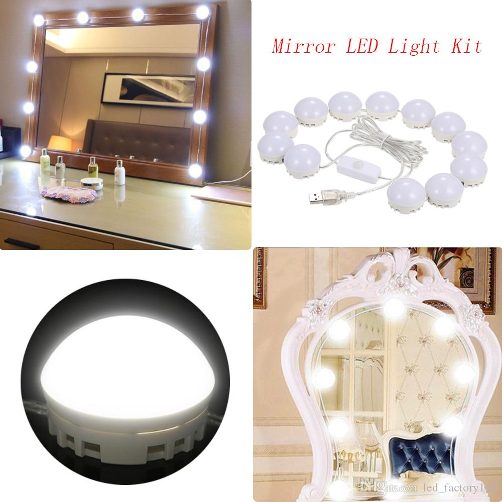 2018 New Version Hollywood Style Led Vanity Mirror Lights Kit Makeup Dressing Table Set Lighted Mirrors With Dimmer And Usb Plug 10 Bulbs From