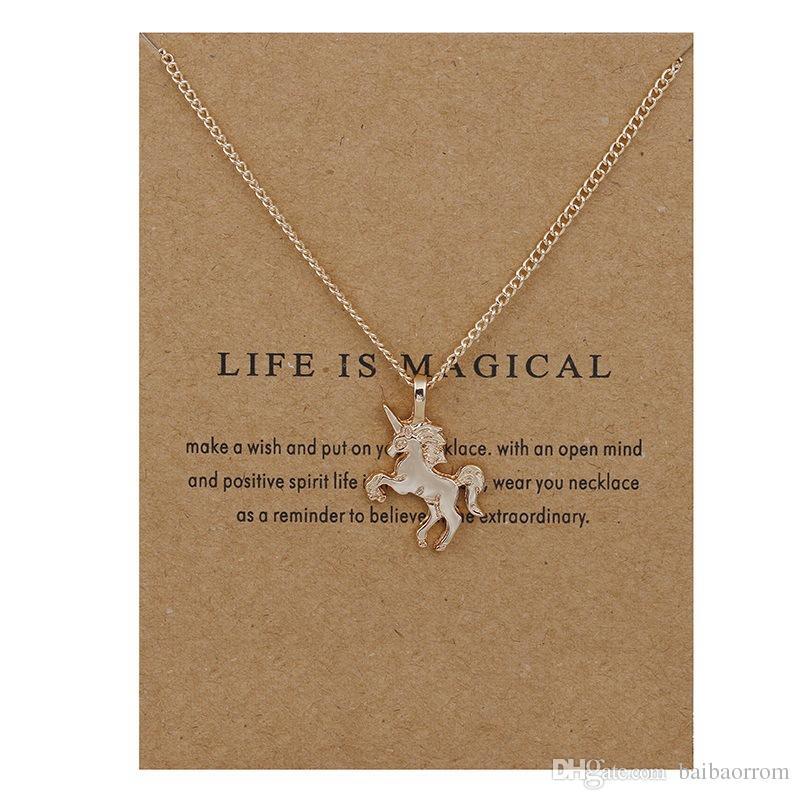 Mode NO Dogeared LOGO New Gold-couleur La Vie Est Magique UNICORN Cheval Alloy Clavicule Chaîne Pendentif Chocker Collier Bijoux Cadeau Whosales