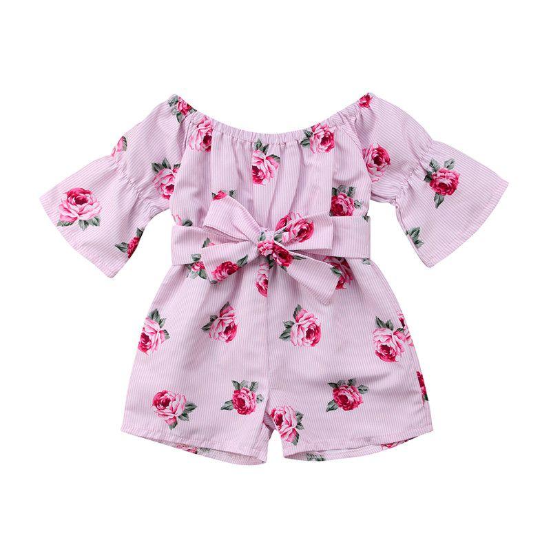 3cb3ee4b7b67 2019 2018 Summer Cute Newborn Baby Girl Floral Romper Long Sleeve ...