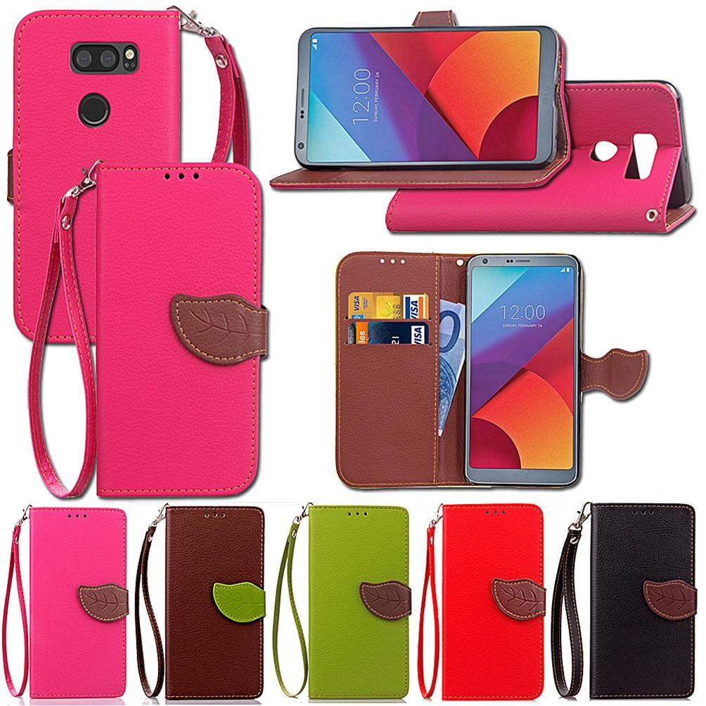sale retailer a3a3f 2293c Leaf Flip PU Leather Cover For LG V30/MH/V30 Case Wallet Card Money Holder  Strong Removable Hand Strap