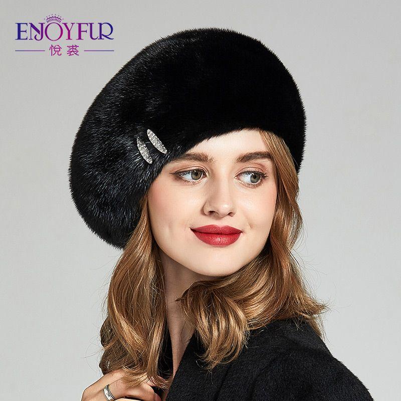 Großhandel Enjoyfur Echte Hüte Für Frauen Winter Pelzkappen Mit ...