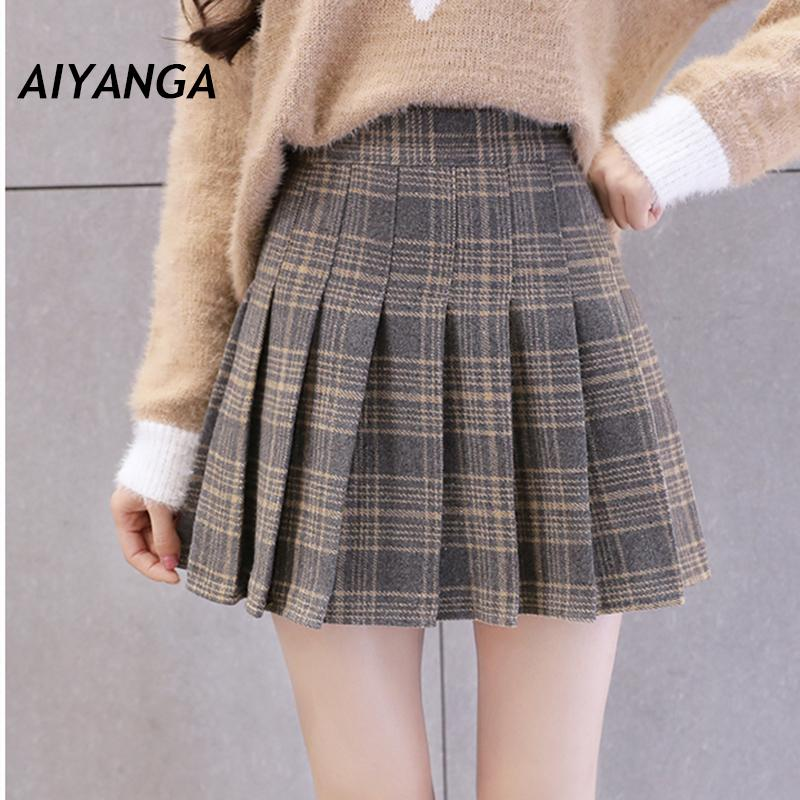 58fd40a776 2019 Preppy Style Woolen Plaid Skirts For Women High Waist Ladies Pleated  Check Short Skirt Fashion Checkered Skirts Autumn Winter From Sugarlive, ...