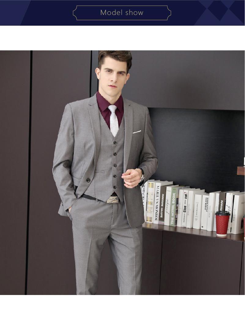 f55b966af40c Brand New Light Grey Men 3 Piece Suit Wedding Tuxedos Excellent Groom  Tuxedos High Quality Men Business Prom Blazer(Jacket+Pants+Tie+Vest)9