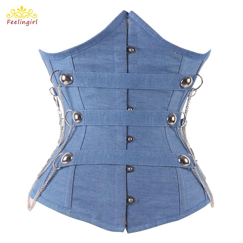 68e4e2a0c08 2019 12 Steel Boned Blue Denim Corset Gothic Underbust S M L XL 2XL Waist  Corsets Sexy Corselet Top Women Clothing E From Vanilla01