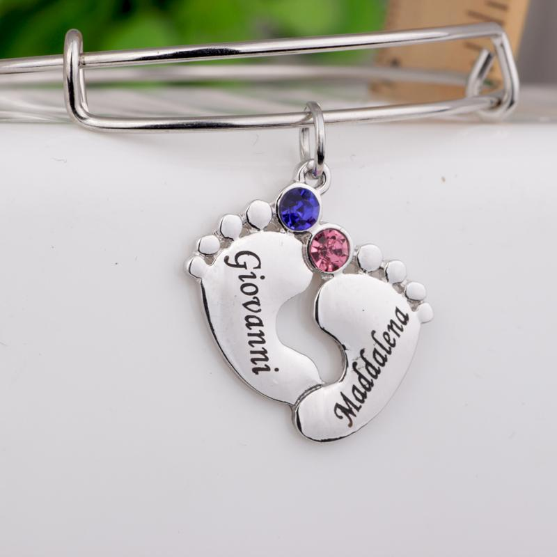 Baby Feet Bangle Custom Made Names Birthstones Birthday Gift For Mom And Kids Can Drop Shipping YP3052 Charm Bracelets Uk Silver From