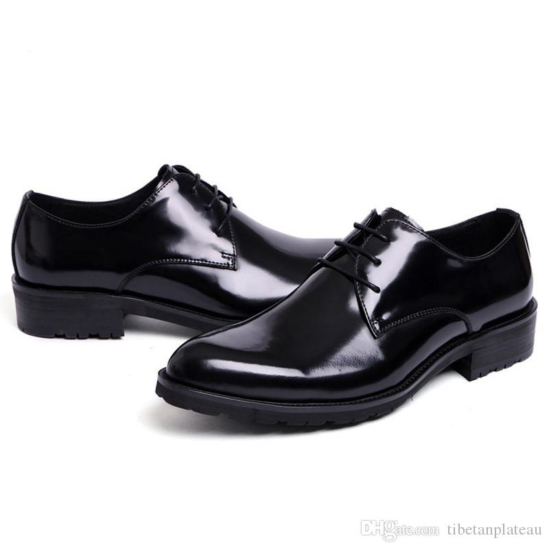 8331485257 Classic Formal Man Platform Dress Business Shoes Patent Leather Wedding  Oxfords Luxury Brand Round Toe Derby Men S Footwear XE67 Mens Casual Shoes  Penny ...
