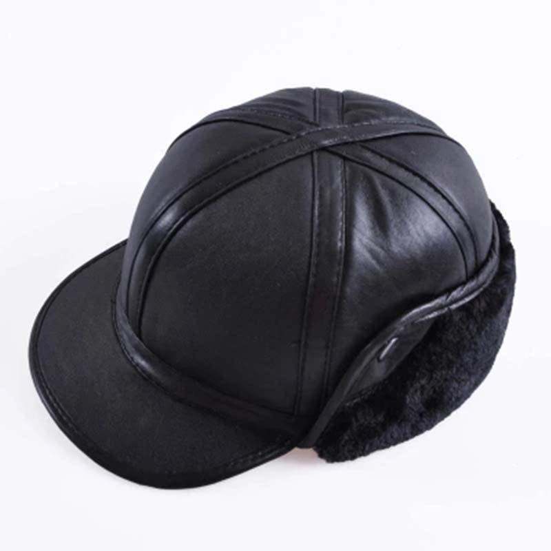 106490ab129 YIFEI 2018 Winter Autumn Mens 100% Sheepskin Leather Cap Warm Baseball Cap  With Ear Flaps Russia Genuine Leather Hats For Men Hats And Caps Skull Caps  From ...