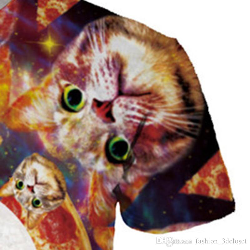 Funny Cute Cat T shirt Men Pizza 3D Lovely Cats T-Shirts Plus Size Harajuku Galaxy Streetwear Elegant Fashion Party Clothing