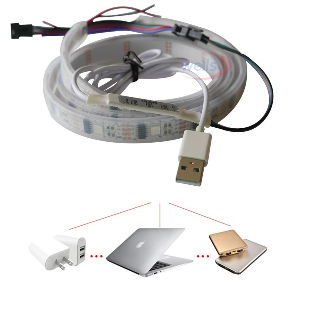 USB 1m/2m WS2812B WS2801 Smart Led Pixel Strip,Individually ...