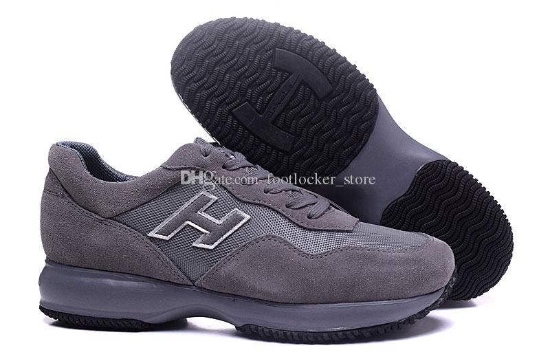 2019 Top Quality Hogans Suede Material Men Luxury Designer Shoes Men  Fashion Shoes Male Leisure Trainer Grey Interactive Outdoor Shoes Discount Shoes  Mens ... 38ff5df236f