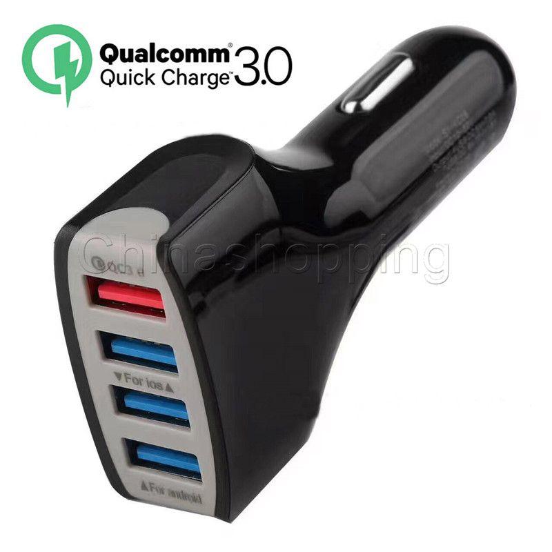 QC3.0 4 USB 7A Adaptive Schnellladung Auto Ladegerät Stecker Kabel USB Kabel Home Travel Ladegerät mit Kleinpaket