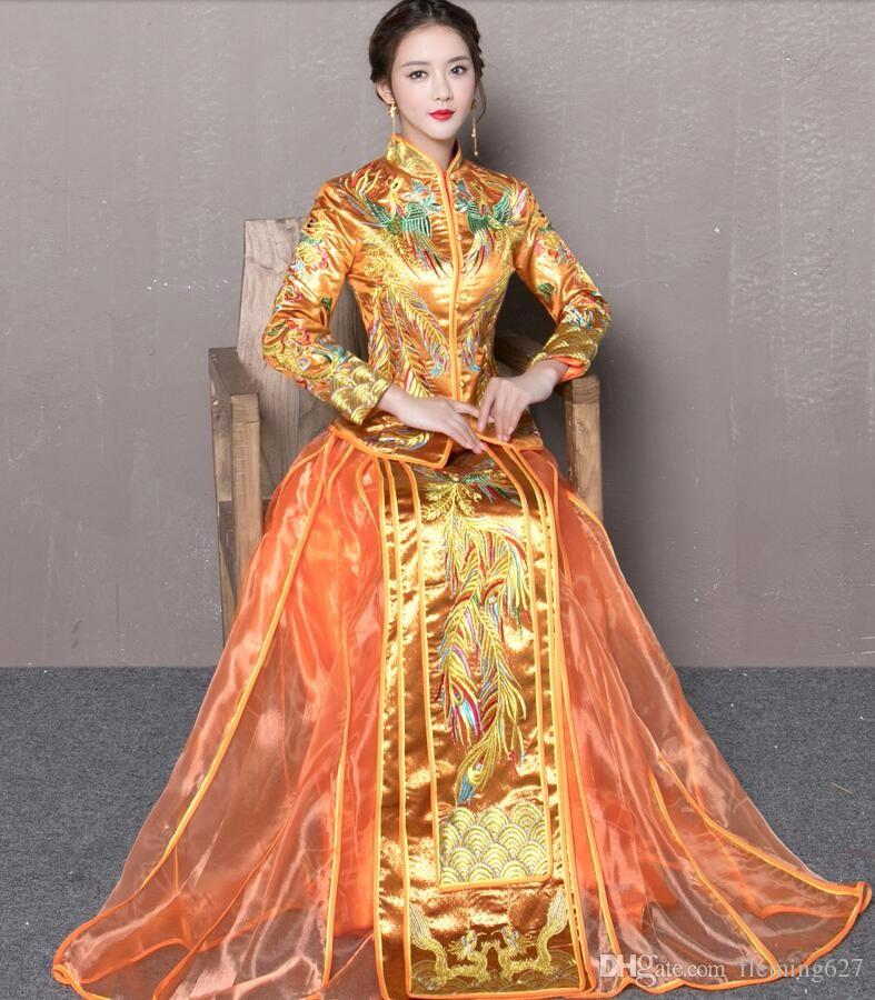 60f60329882 Acheter Robe De Mariée Robe Chinois Style Show Chine Robe De Mariage  Ancienne Mariée Élégant Toast Costumes Overseas Chinois Traditionnel Robe  Traditionnel ...