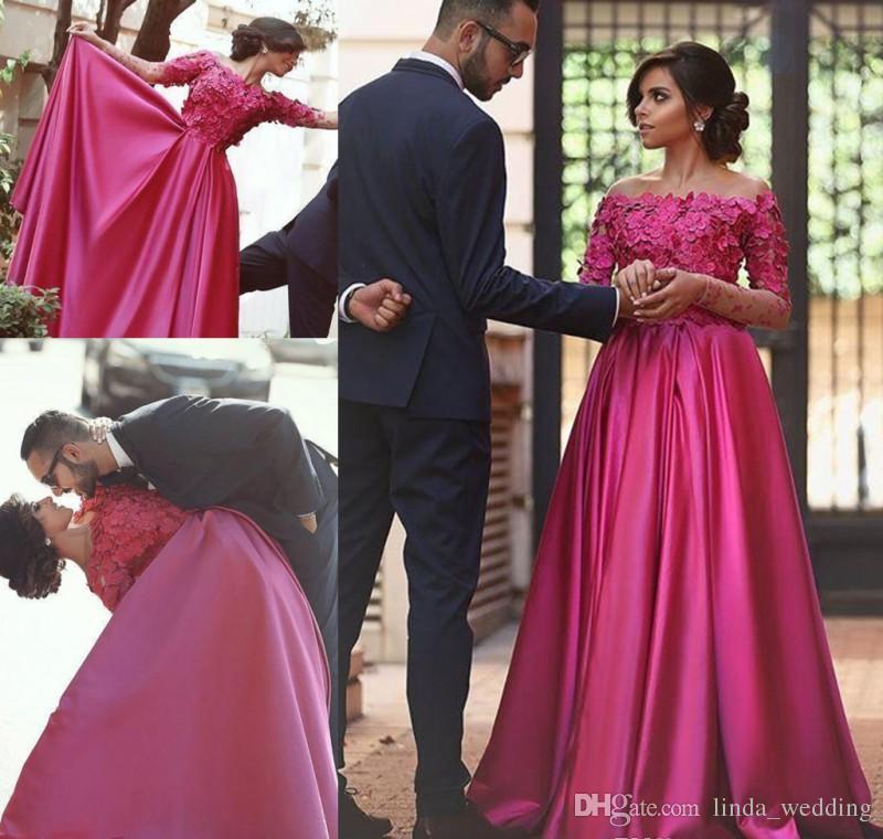 2018 Arabic Dubai Islamic Muslim Fuchsia Evening Dress Long Sleeves Formal Holiday Wear Prom Party Gown Custom Made Plus Size Chiffon Evening Dresses