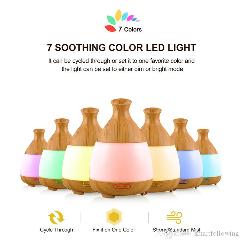 Mini 120ML ultrasonic essential oil diffuser aroma bottle LED light scent automatic electric wood grain eco friendly quiet for sleeping spa