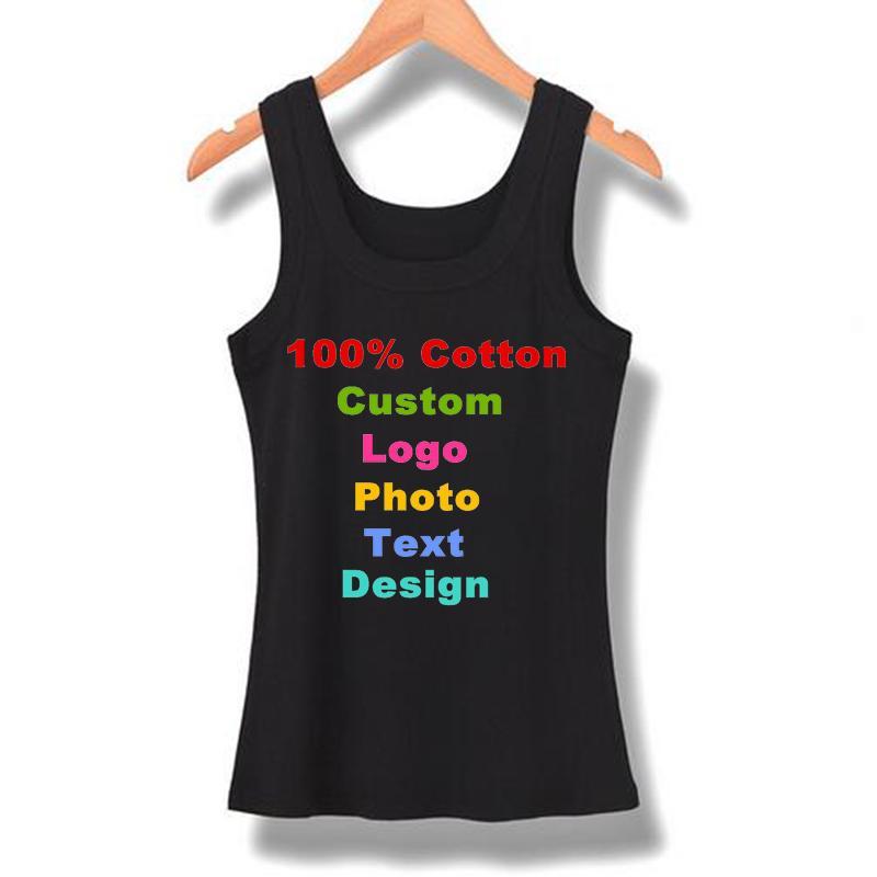fc60b4c8782d57 2019 2018 Summer Women Tanks Sleeveless Elastic Tank Top Cotton Basic Solid  Slim T Shirt Adversting Custom Logo Print Beach Tanks From Blueberry15