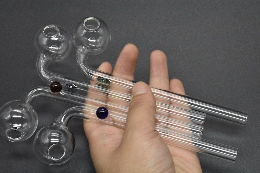14cm MIni Günstige Rauchpfeifen Glas Ölbrenner Klare Farbe Balancer Wasser Tabak Glaspfeifen zum Rauchen Kraut