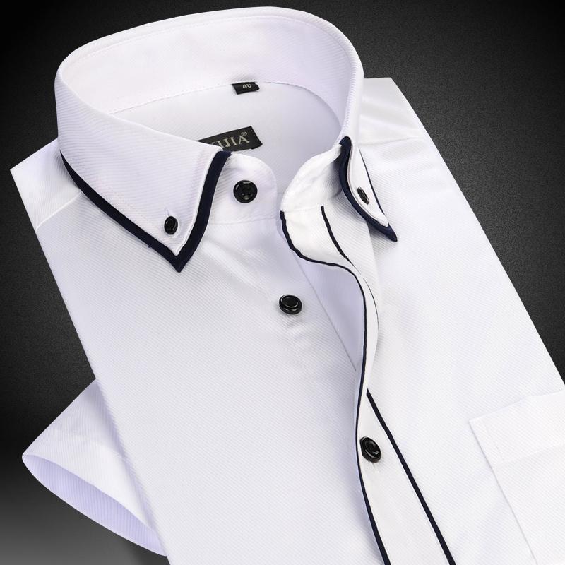 Großhandel Herren Kurzarm Doppelschicht Kragen Mit Schwarzen Piping Dress Shirt  Weiß Sommer Smart Casual Slim Fit Thin Twill Herrenhemden Von  Eventswedding, ... b296b2439b