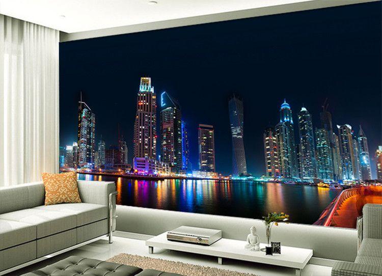 Atacado HD Vintage City Night Cenário 3d Mural de parede para Sala de estar Sofá Fundo 3d Foto Mural Papel de parede Parede Fresco