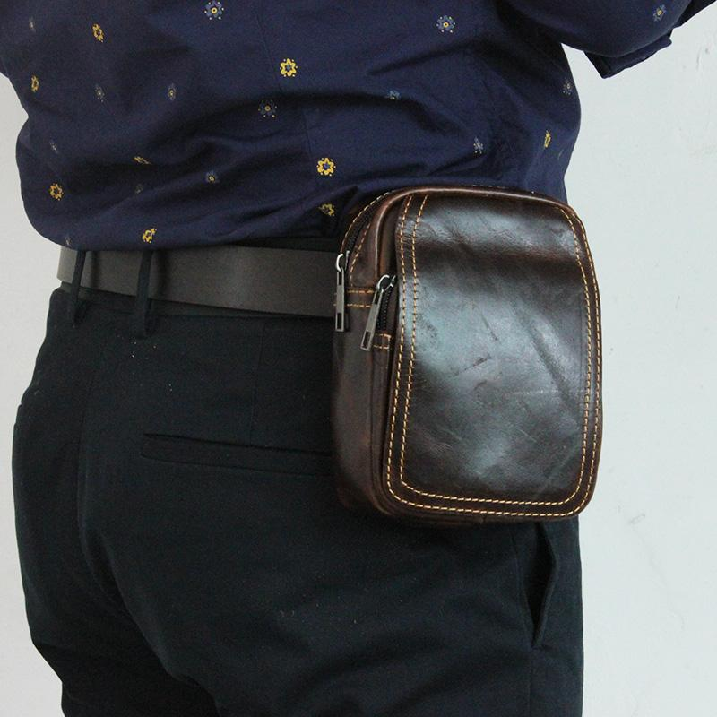 f49d176d207 Handmade Retro Genuine Leather Mens Waist Bag Travel Fanny Pack Belt Loops Hip  Bum Bag Wallet Purses Phone Pouch 5.5inch Handbags For Sale Designer Fanny  ...