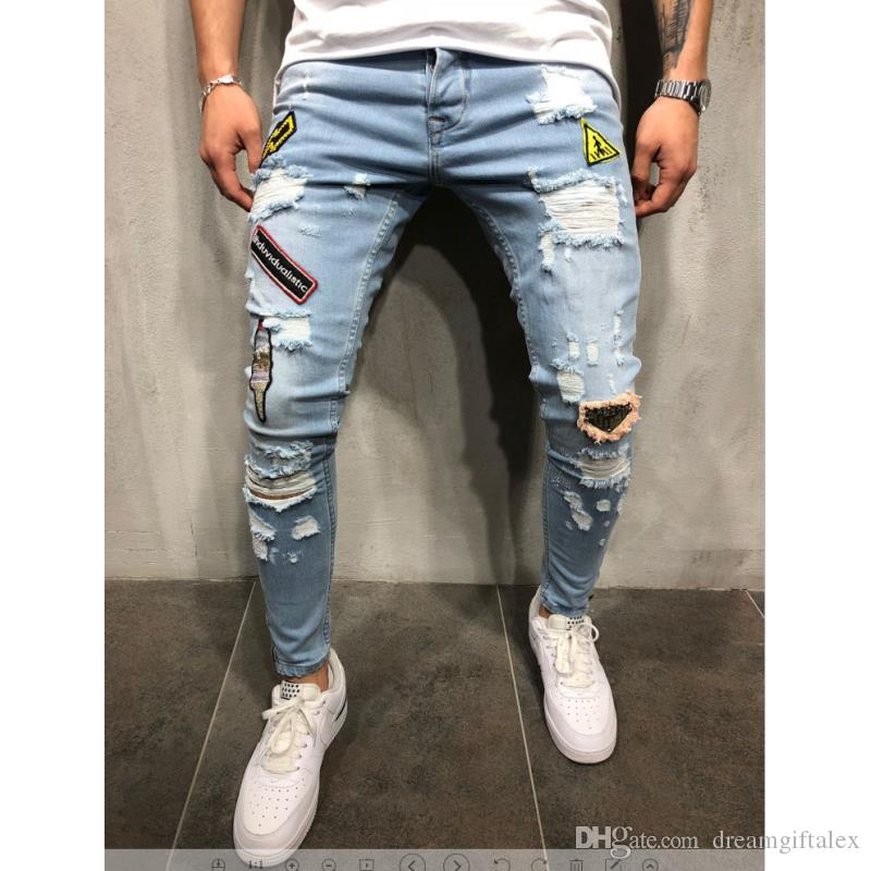 f99f93c89f65e3 2019 2018 Mens Fashion Ripped Jeans With Patches Distressed Destroyed  Patchwork Male Streetwear Hiphop Badge Denim Trousers From Dreamgiftalex,  ...