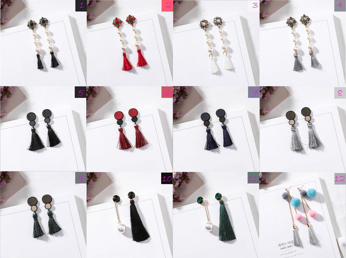29c167d42 2019 Red Crystal Pearl Silk Thread Weave Sizes Drop Tassel Fringe Brief  Simple Bohemian Earrings Ethnic Ear Rings Set Fashion For Girls Women From  ...
