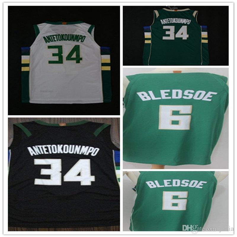 be26ff6f store 2018 34 giannis antetokounmpo basketball jersey black white gree 6  eric bledsoe jerseys new mens