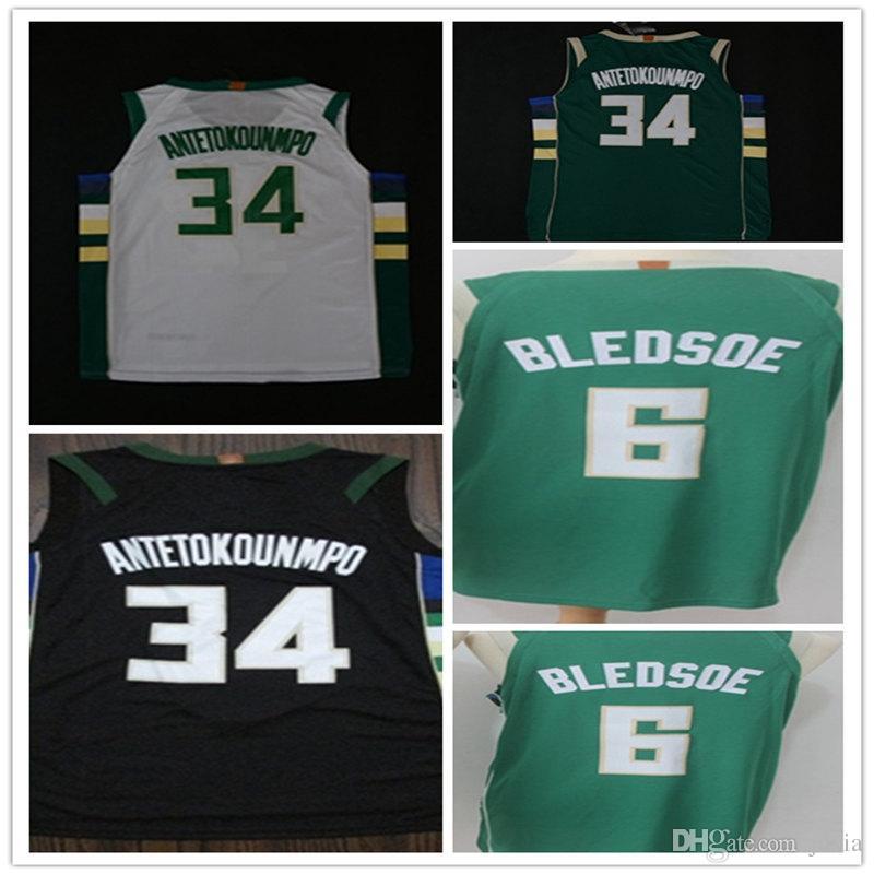 ... store 2018 34 giannis antetokounmpo basketball jersey black white gree  6 eric bledsoe jerseys new mens 4b51cfd17
