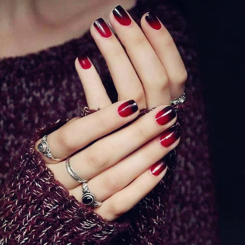 Super Nice Acrylic Fake Nails Color Black + Red Gradient Short ...