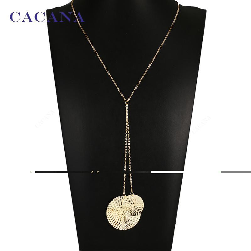CACANA moda büyük yuvarlak küçük yuvarlak kolye kolye ile 2 renkler chokers kolye toptan takı bijuteri N9