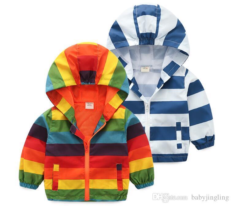aca0c8936 2019 Spring Autumn Children Stripe Hooded Kids Jacket Boys Outerwear ...