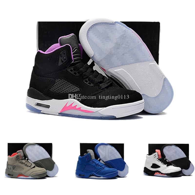 f5db75a0 Купить Оптом Nike Air Jordan 5 11 12 Retro Детская Обувь 5 VII Баскетбольная  Обувь Chirldren Мальчики И Девочки Дети 5s Спортивные Баскетбольные  Кроссовки ...