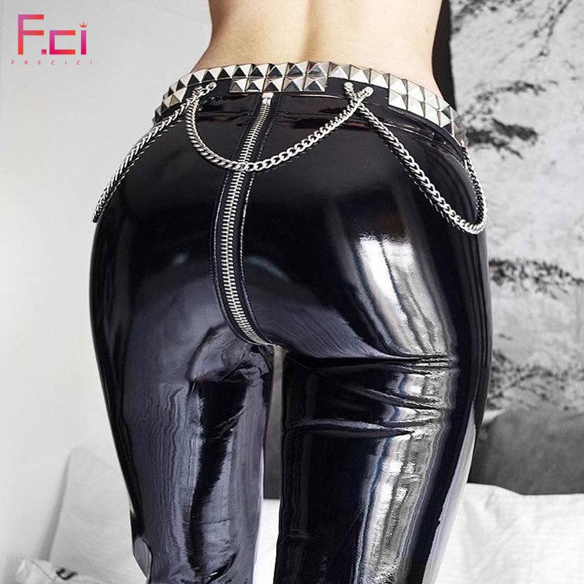 b0a70b63b2b1b3 2019 FREICICI Women Sexy Shiny PU Leather Leggings With Back Zipper Push Up  Faux Leather Pants Latex Rubber Pants Jeggings Black Red From Liangcloth