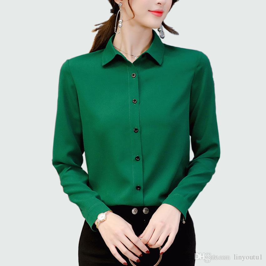 e8be07f966bd6 Women Long Sleeved Solid Shirt And Blouse 2018 Office Lady Spring Summer  Plus Size Blouses Ol Style Shirts Blusas Chemise Femme
