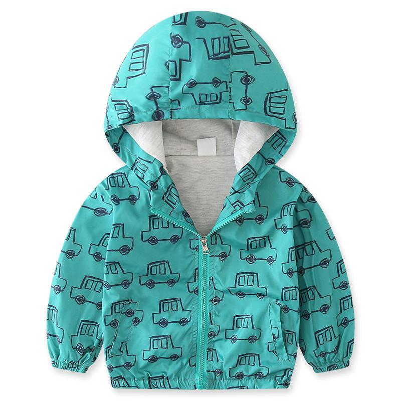 hot sale online 92a45 0c3e5 Jungen Jacke Kinder Winter Jacken für Jungen Kapuzen Mäntel Tops Green  Print Cars Zeichnung Kinder Kleidung Thin 2018 Brand Design Kind