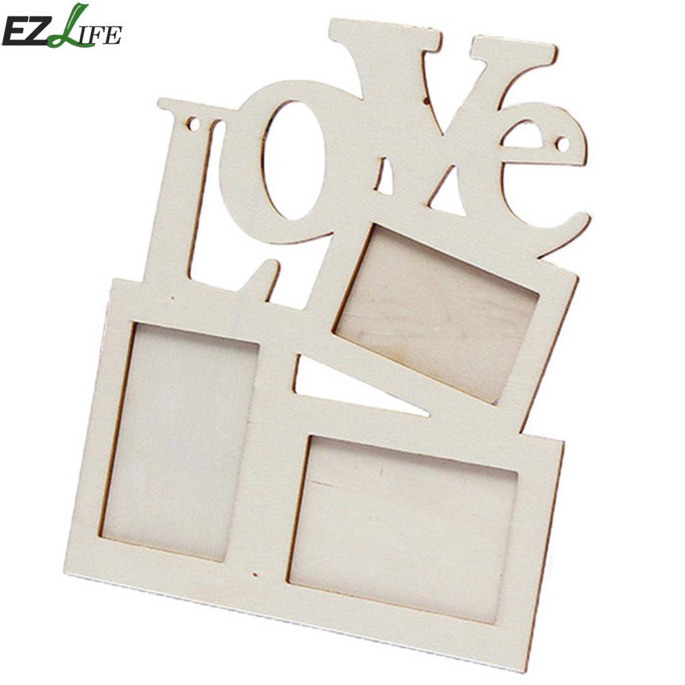2018 Wooden Photo Frame Diy Love Shape Durable Mini Family Photo ...