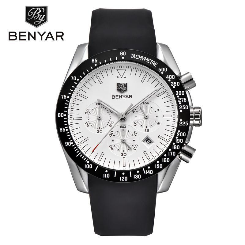8327dd2205c9 Compre BENYAR BY 5120M Marca Hombres Sport Cronógrafo Todos Los Relojes De  Acero Correa De Cuarzo Todos Los Punteros De Trabajo Impermeable Reloj De  Moda ...