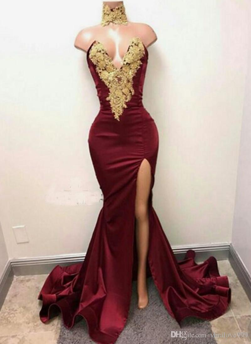 Sexy burgundy Prom Dresses Long Side Split Sweep Train Gold Applique with rhinestones Evening Gowns Custom Made Velvet Party Evening Wear