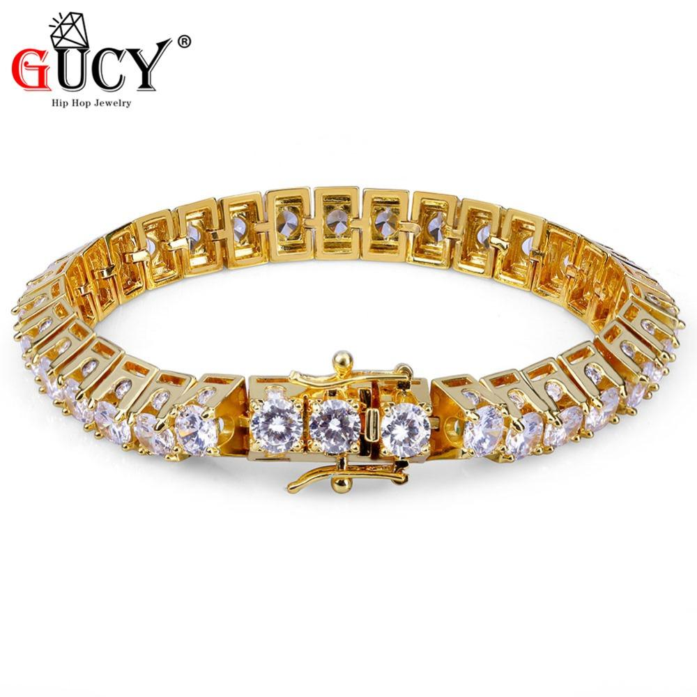 2a4d2875a 2019 GUCY Hip Hop New Fashion Iced Out Bling Bracelet Gold Color Micro Pave  CZ Stones Bracelets 10mm Width Charm Jewelry For Men Gift From Oldnavy, ...