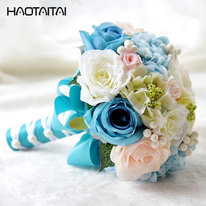 Customized Crystal Bridal Bouquet 2018 Blue De Mariage Artificial ...